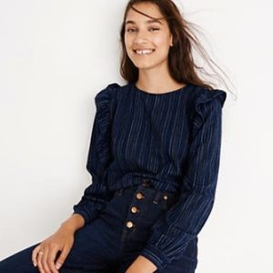 NWT Madewell Ruffle-Front Shirt in Cecile Stripe